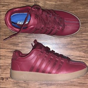 Maroon K-Swiss with gum bottom